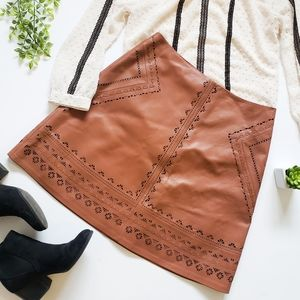 WHBM Laser Cut Leather A-Line Skirt